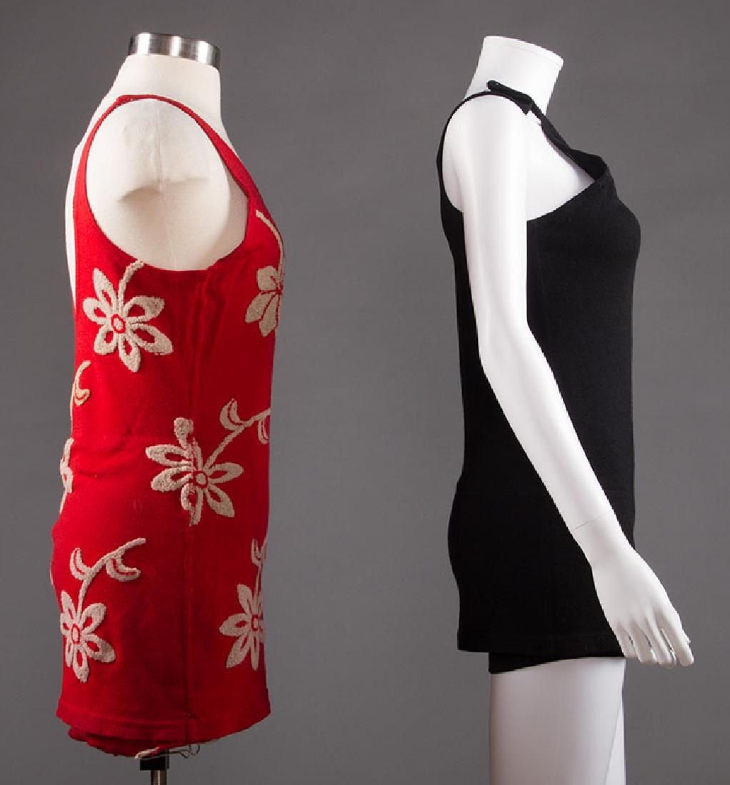 2 LADIES' WOOL KNIT SWIM SUITS, 1920s - 1930s - 2