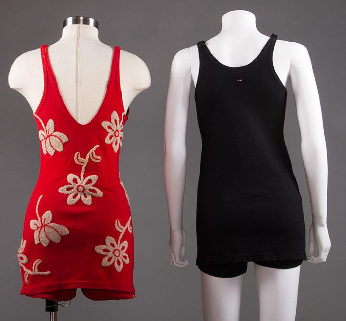 2 LADIES' WOOL KNIT SWIM SUITS, 1920s - 1930s - 3