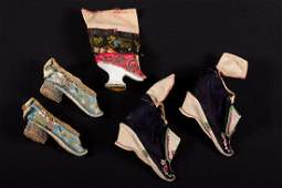 2 PAIR SHOES FOR BOUND FEET CHINA 19TH C