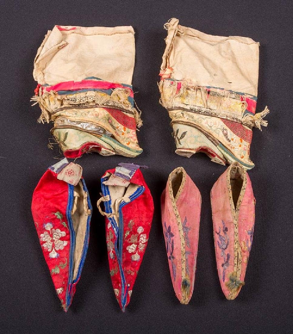 2 PAIR SHOES & 1 PAIR SLIPPERS FOR BOUND FEET, CHINA