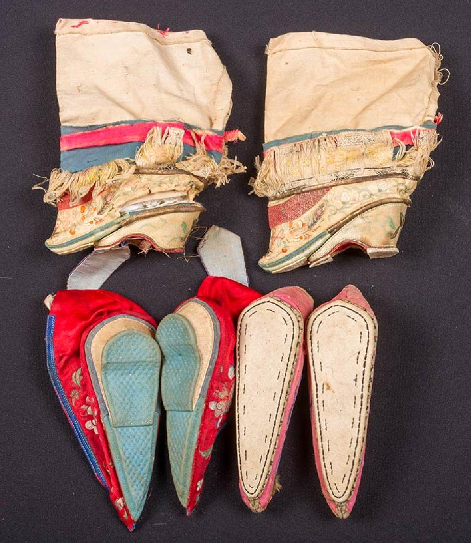 2 PAIR SHOES & 1 PAIR SLIPPERS FOR BOUND FEET, CHINA - 2