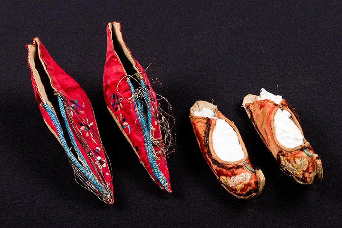 2 PAIR & 6 SINGLE SHOES FOR BOUND FEET, CHINA - 2