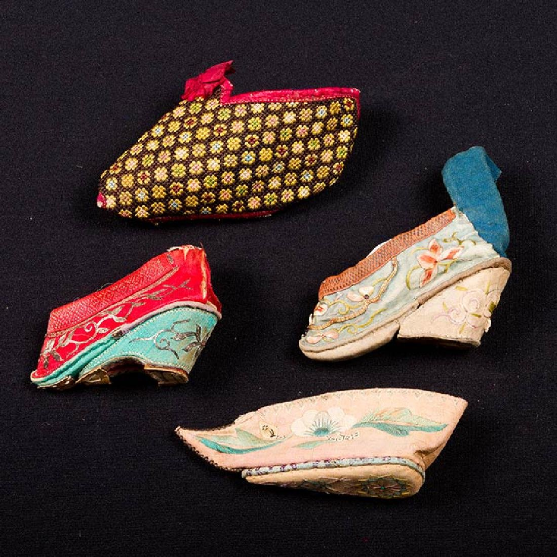 2 PAIR & 6 SINGLE SHOES FOR BOUND FEET, CHINA - 3