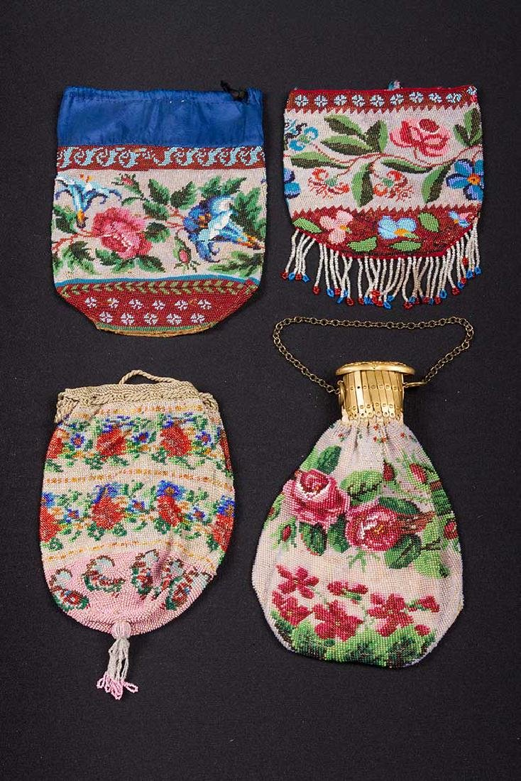4 FLORAL BEADED BAGS, MID-LATE 19TH C