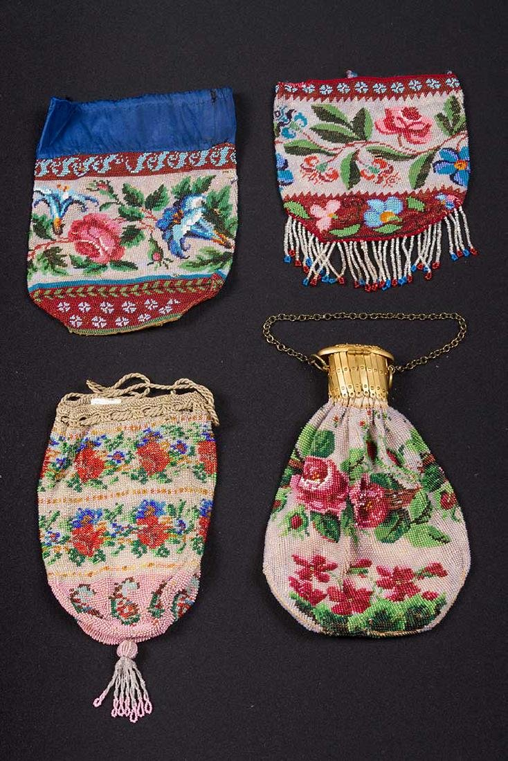 4 FLORAL BEADED BAGS, MID-LATE 19TH C - 2