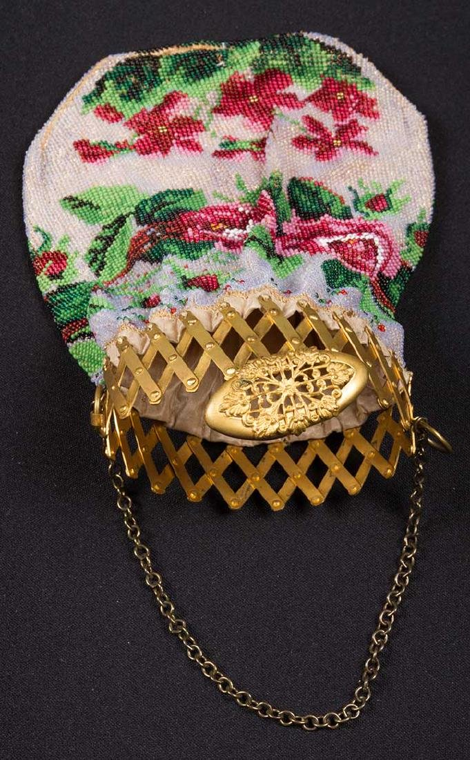 4 FLORAL BEADED BAGS, MID-LATE 19TH C - 3