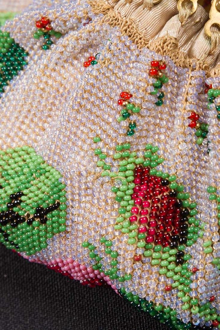 4 FLORAL BEADED BAGS, MID-LATE 19TH C - 4