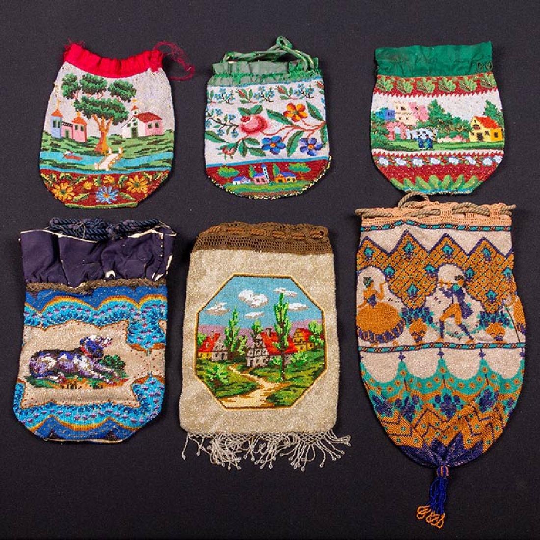 6 PICTORIAL BEADED BAGS, 1840-1900