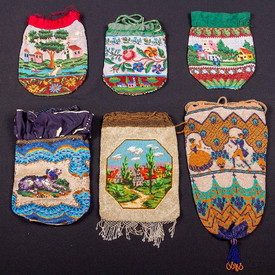 6 PICTORIAL BEADED BAGS, 1840-1900 - 2