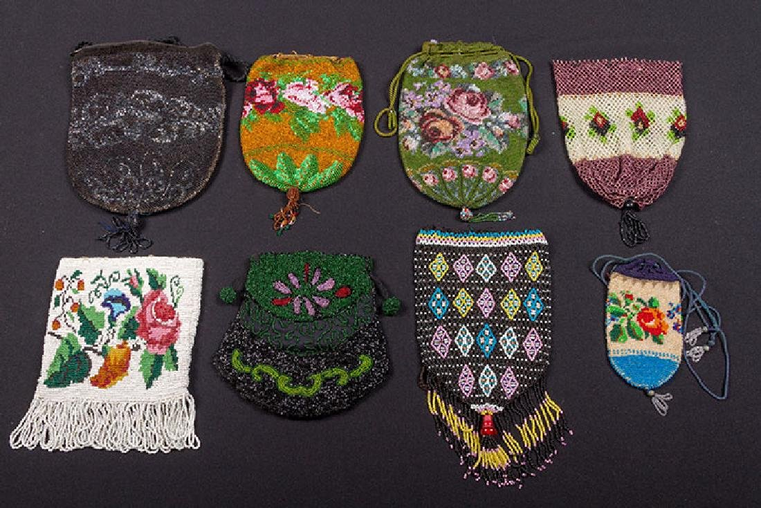 7 SMALL BEADED BAGS, 19th C.