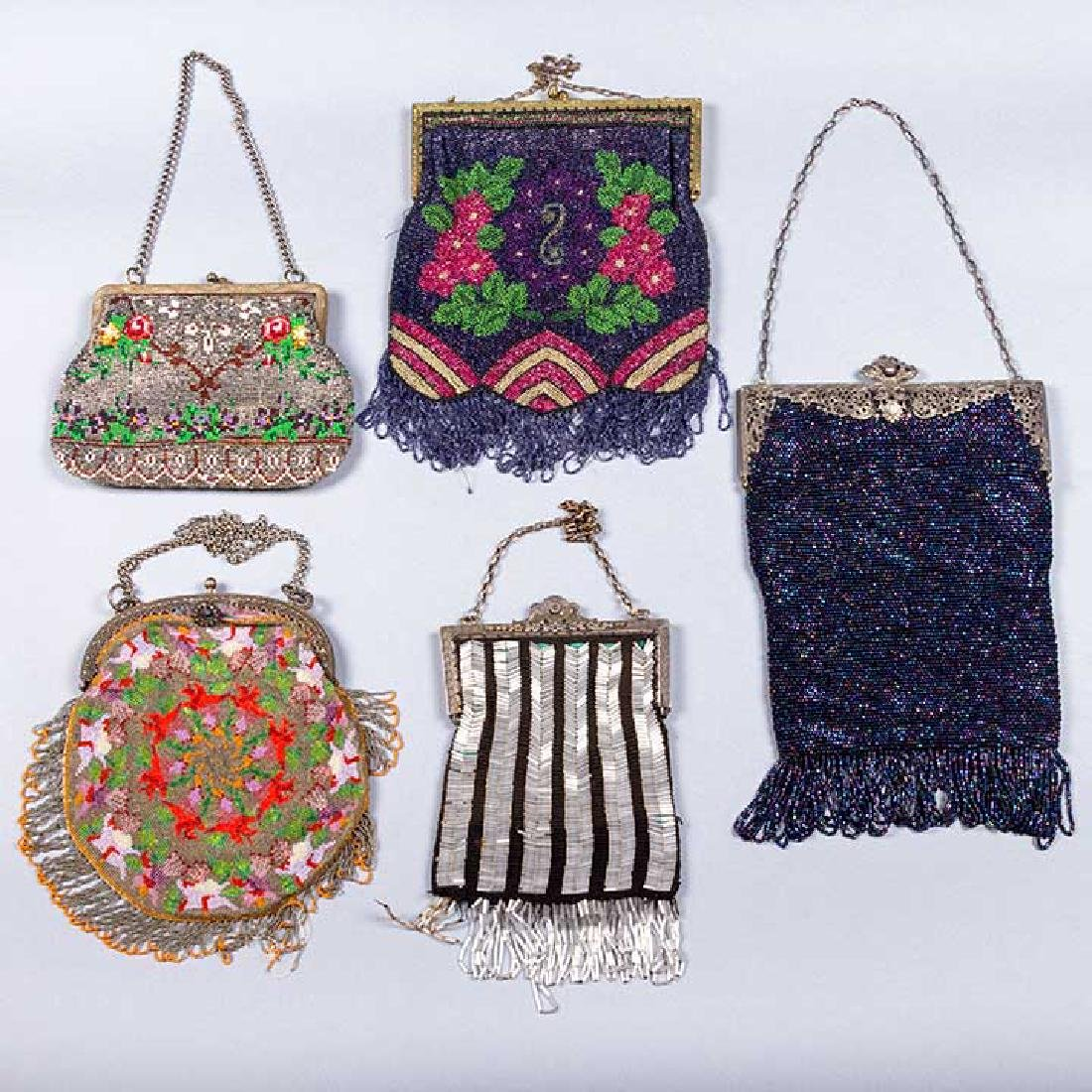 5 FRAMED BEADED BAGS, 1900-1930