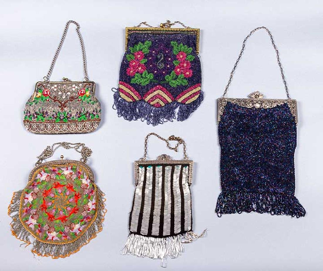 5 FRAMED BEADED BAGS, 1900-1930 - 2