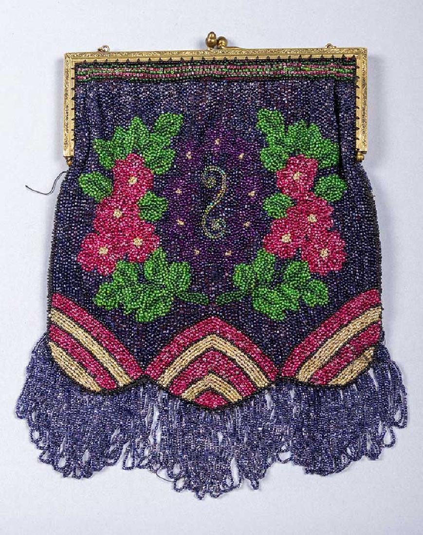 5 FRAMED BEADED BAGS, 1900-1930 - 4