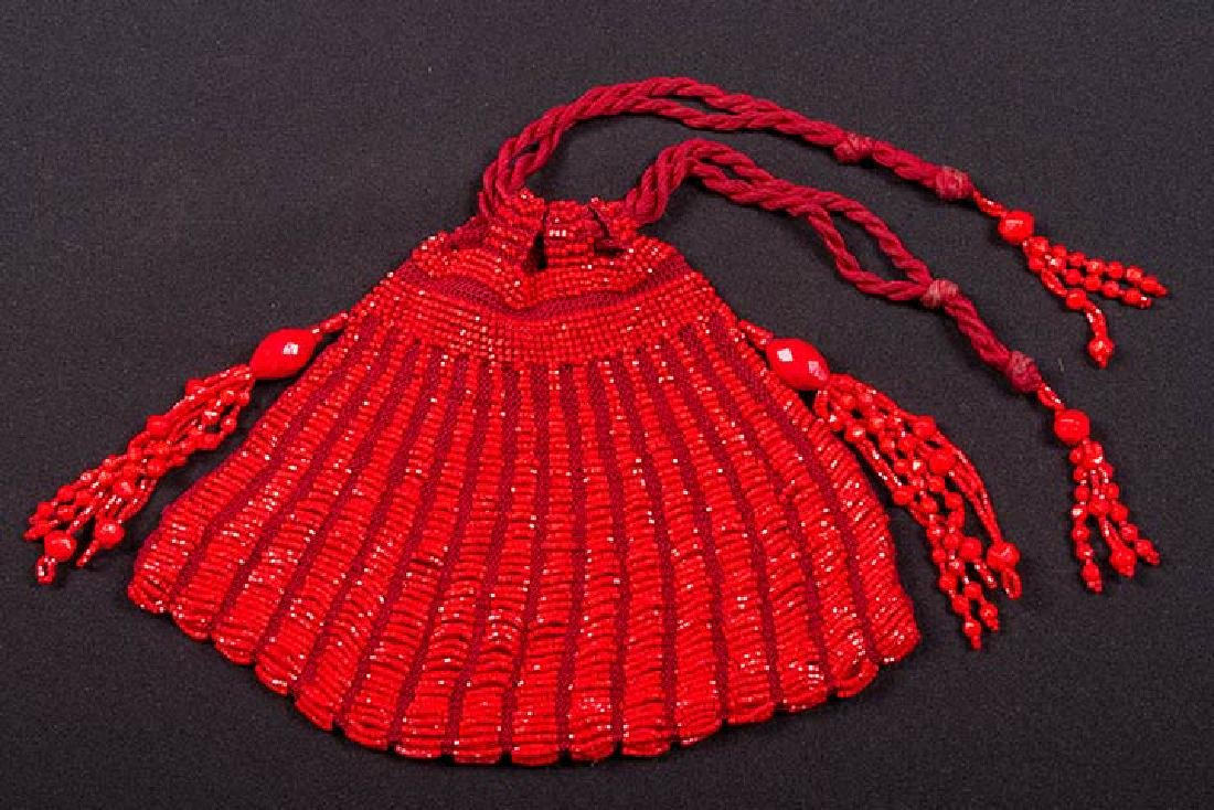 7 RED, SILVER & BLACK BEADED BAGS, 1900-1920s - 9