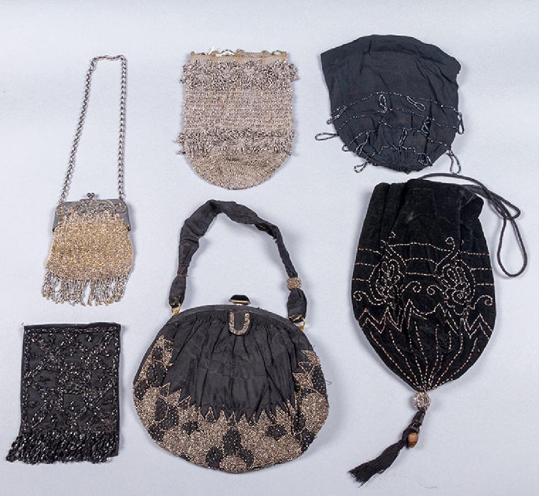 7 RED, SILVER & BLACK BEADED BAGS, 1900-1920s - 2