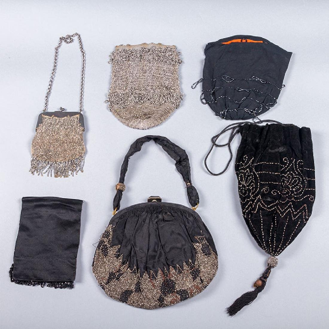 7 RED, SILVER & BLACK BEADED BAGS, 1900-1920s - 3