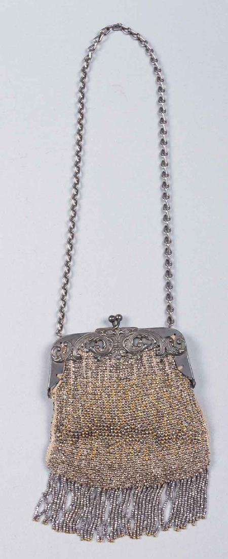 7 RED, SILVER & BLACK BEADED BAGS, 1900-1920s - 4