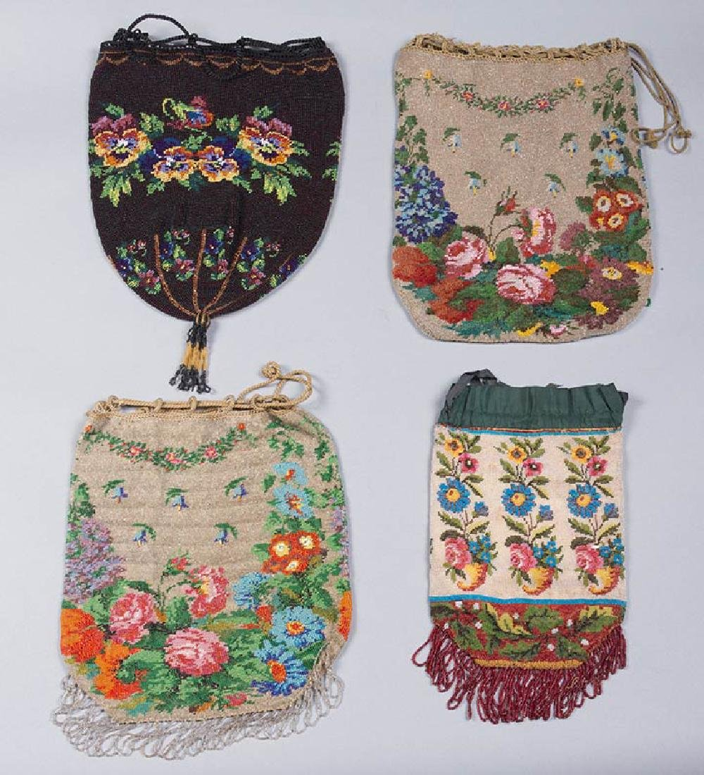 4 LARGE FLORAL BEADED BAGS, 1860-1900