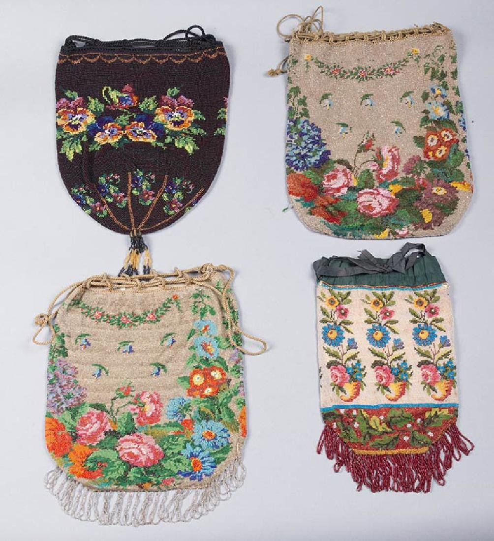 4 LARGE FLORAL BEADED BAGS, 1860-1900 - 2