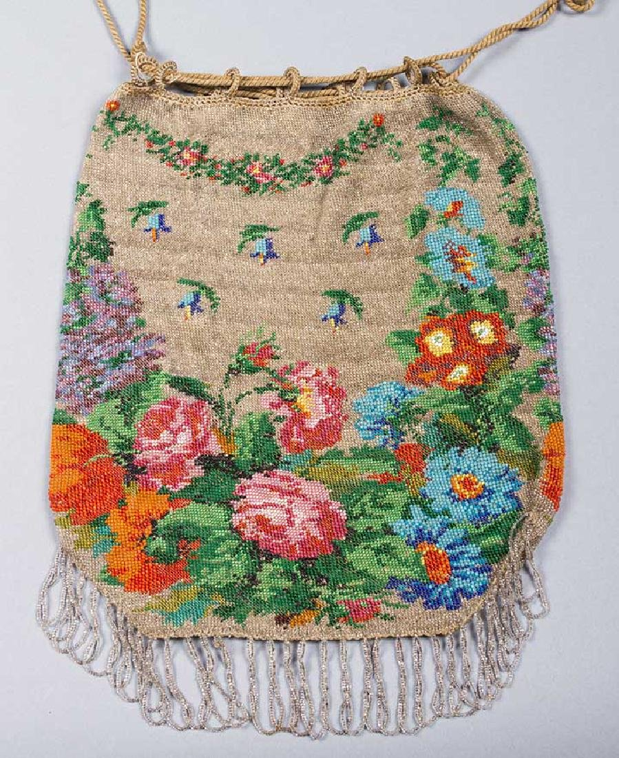 4 LARGE FLORAL BEADED BAGS, 1860-1900 - 4