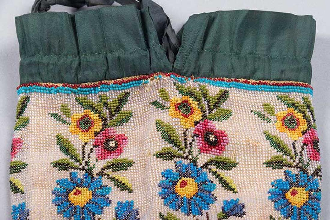 4 LARGE FLORAL BEADED BAGS, 1860-1900 - 6