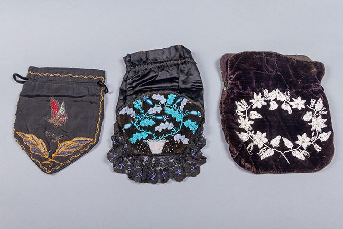 8 BEADED OR EMBROIDERED BAGS, 1910-1930