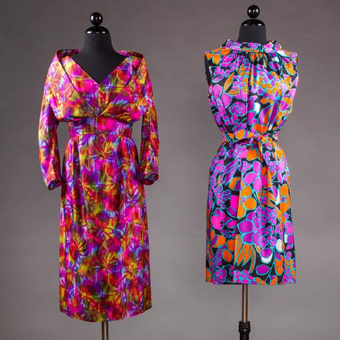 TWO COLORFULLY PRINTED SILK PARTY DRESSES, 1960s