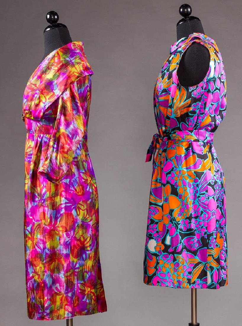 TWO COLORFULLY PRINTED SILK PARTY DRESSES, 1960s - 2