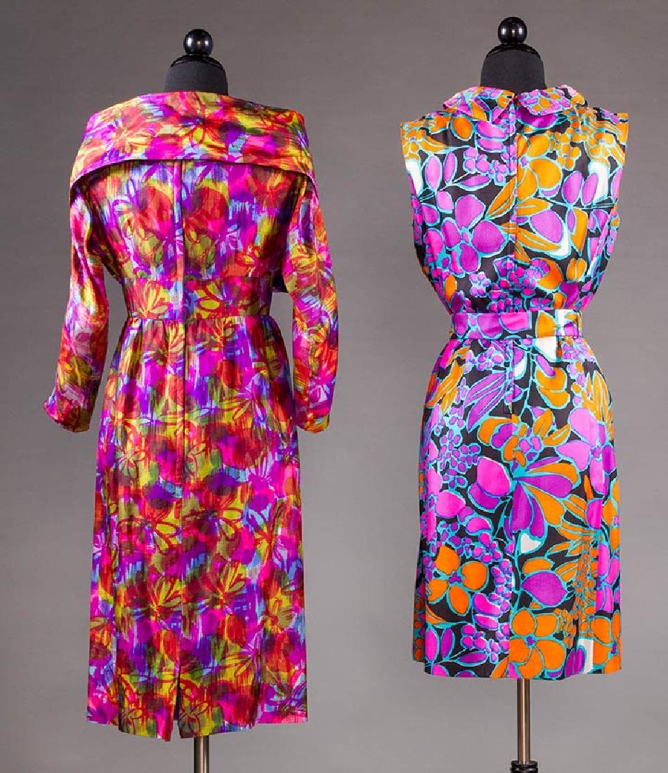 TWO COLORFULLY PRINTED SILK PARTY DRESSES, 1960s - 3