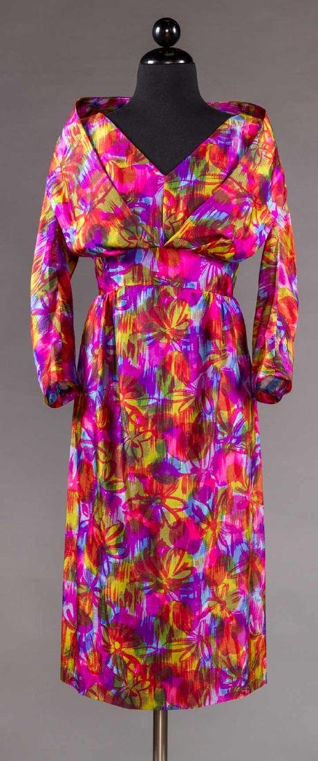 TWO COLORFULLY PRINTED SILK PARTY DRESSES, 1960s - 4