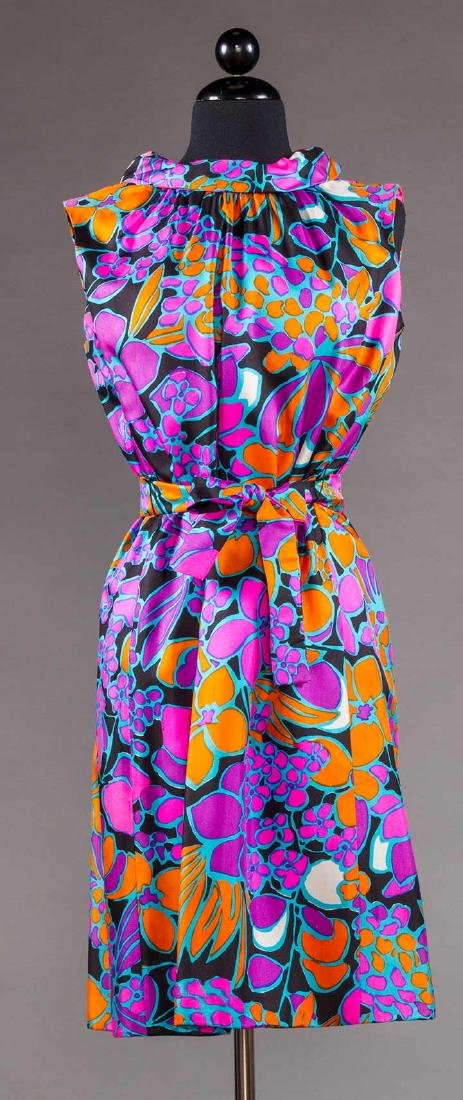 TWO COLORFULLY PRINTED SILK PARTY DRESSES, 1960s - 5