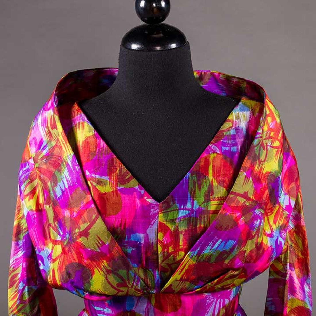 TWO COLORFULLY PRINTED SILK PARTY DRESSES, 1960s - 8