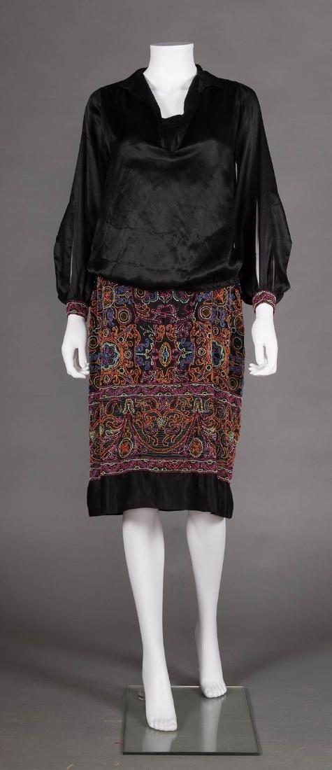 BLACK BEADED DAY DRESS, 1920s