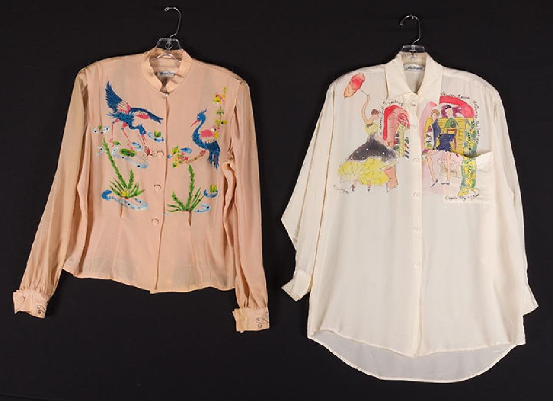 SIX HAND-PAINTED BLOUSES, EARLY 1950s