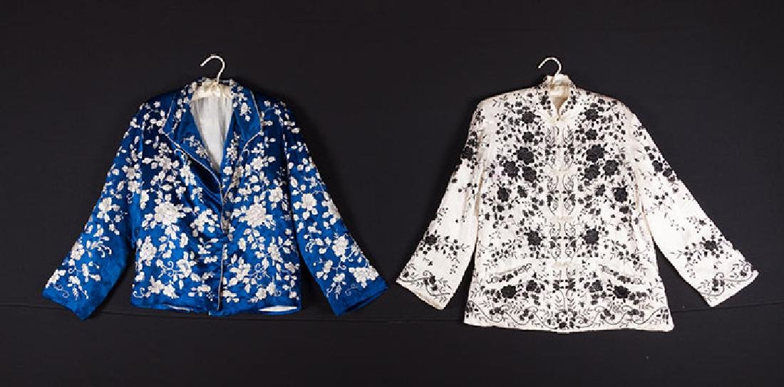 1 BLUE & 1 WHITE EMBROIDERED JACKETS, CHINA, 1950s