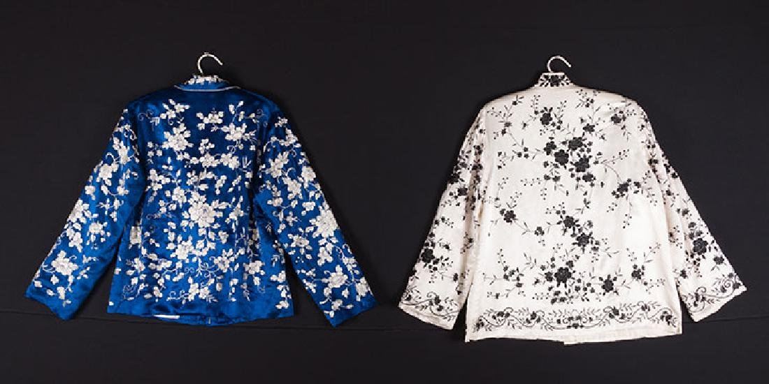 1 BLUE & 1 WHITE EMBROIDERED JACKETS, CHINA, 1950s - 2