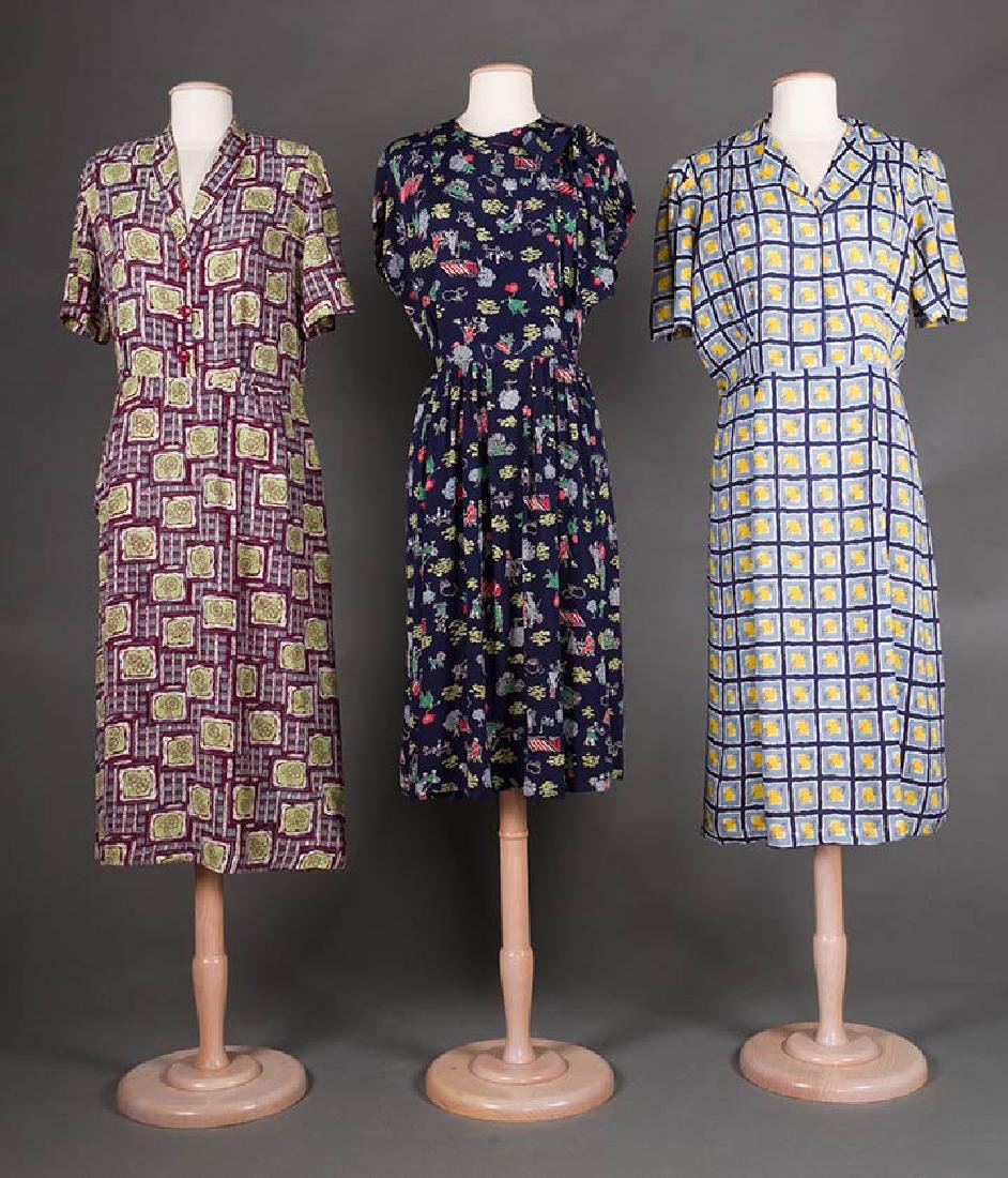 THREE PRINTED DAY DRESSES, 1940s