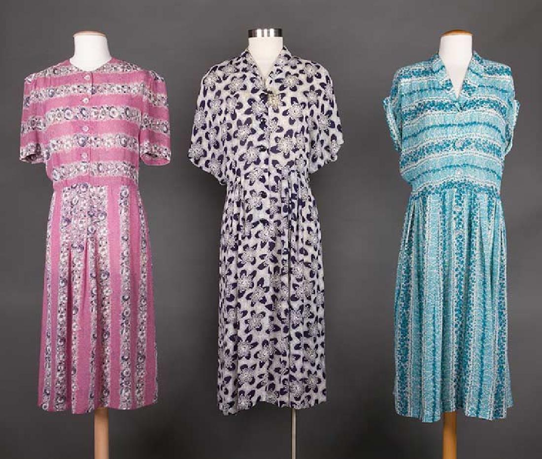 THREE PRINTED DAY DRESSES, 1940s
