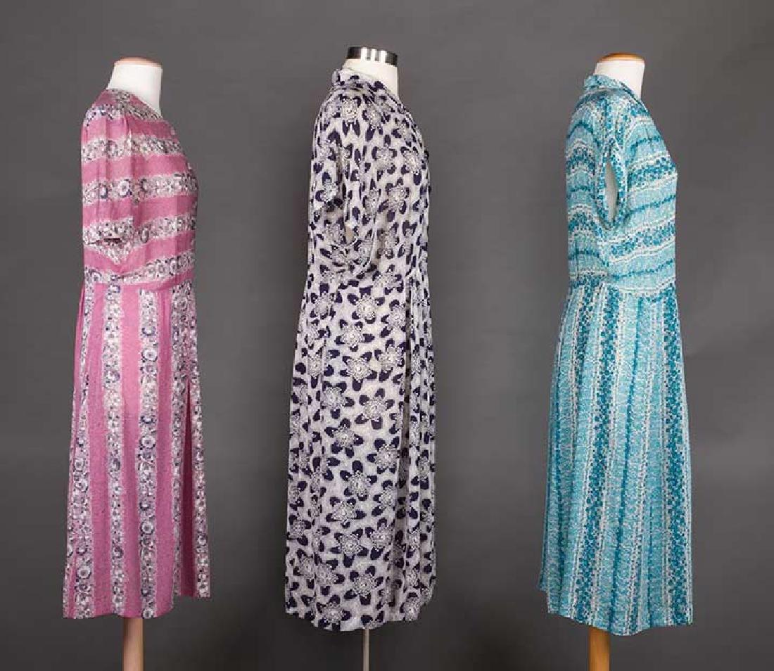THREE PRINTED DAY DRESSES, 1940s - 2