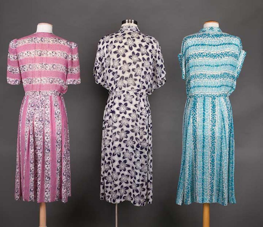 THREE PRINTED DAY DRESSES, 1940s - 3