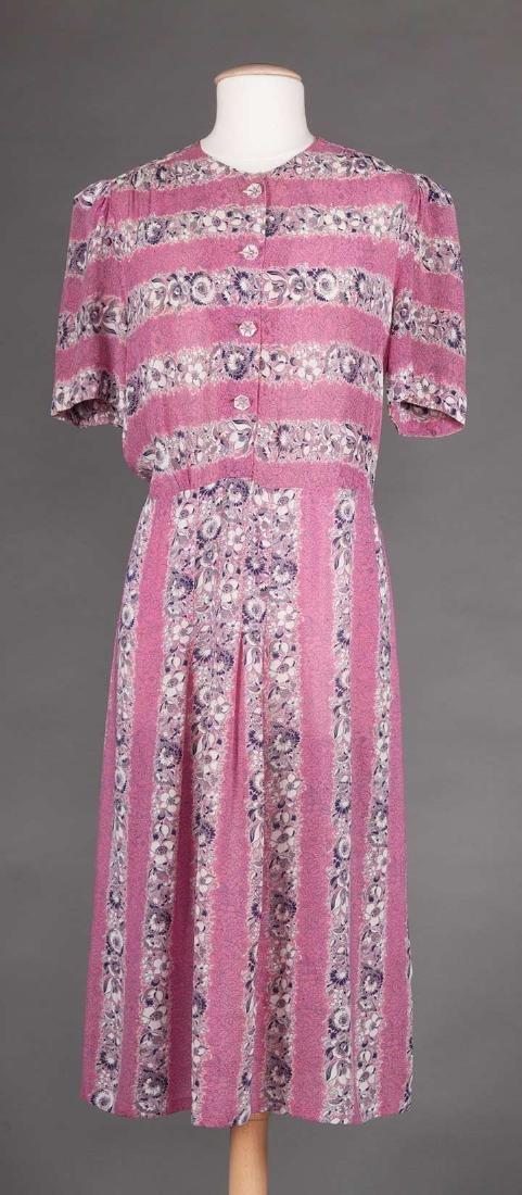 THREE PRINTED DAY DRESSES, 1940s - 4