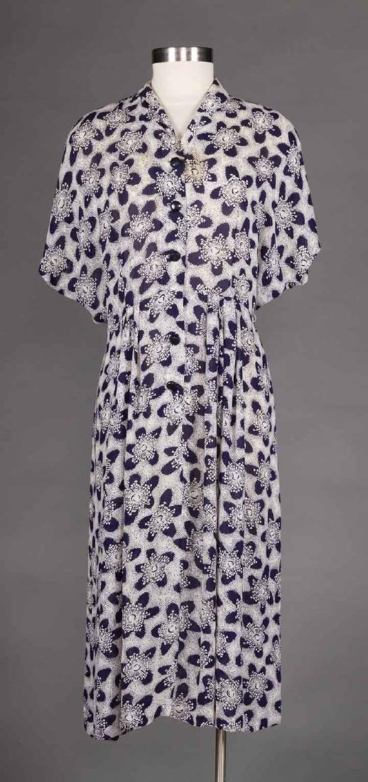 THREE PRINTED DAY DRESSES, 1940s - 6