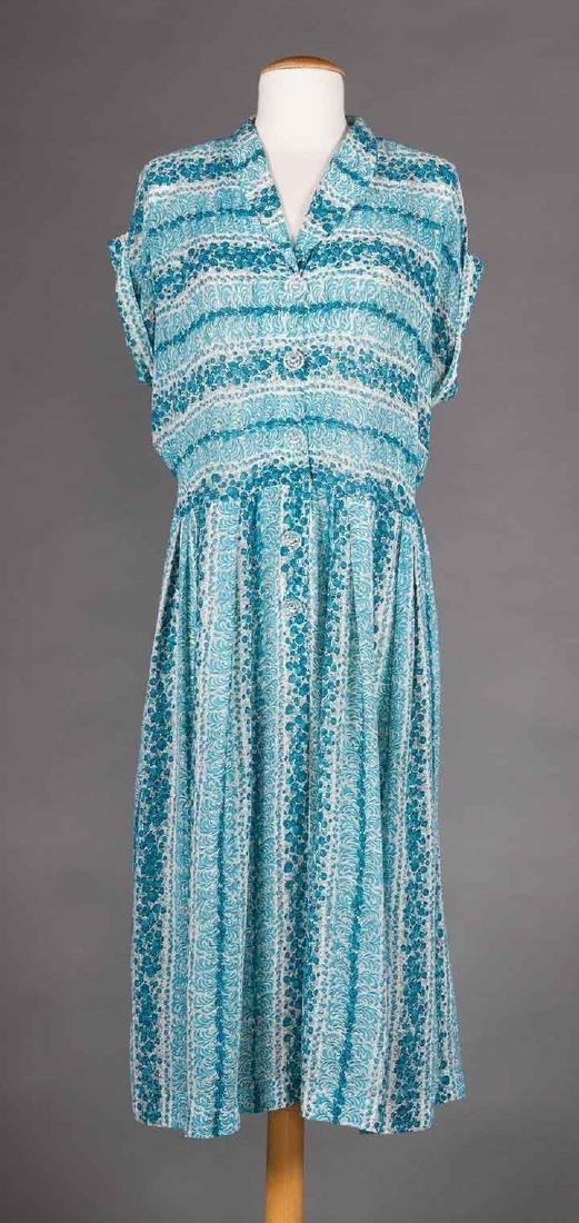 THREE PRINTED DAY DRESSES, 1940s - 8