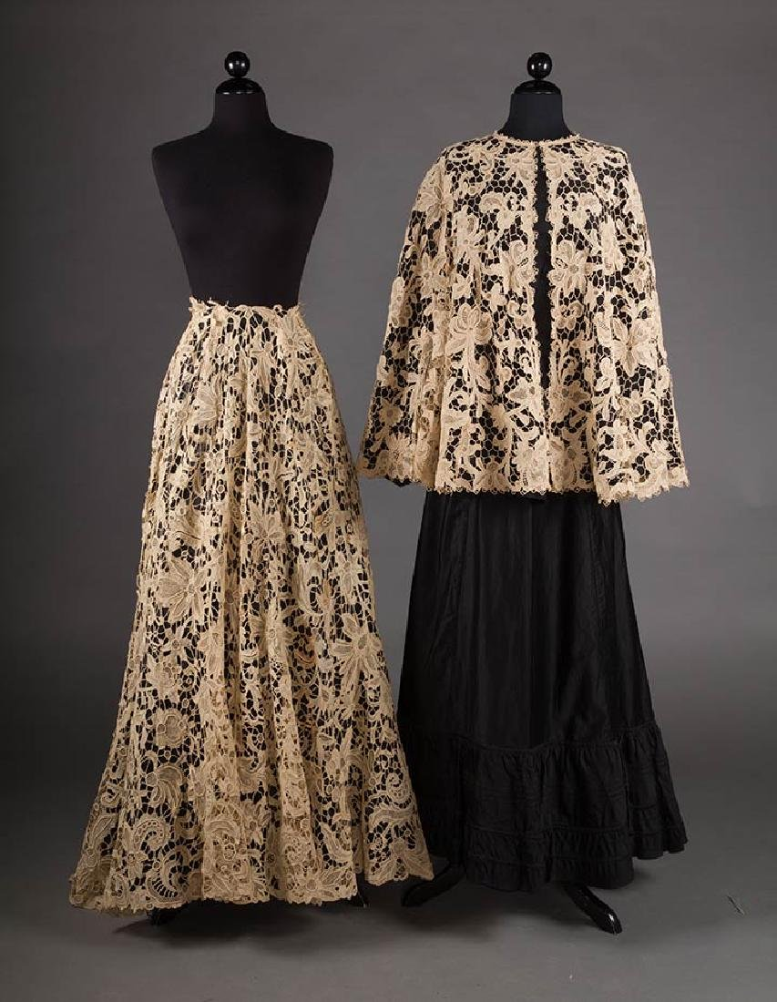 NEEDLELACE SKIRT & NEEDLELACE CAPE, ITALY, c. 1900