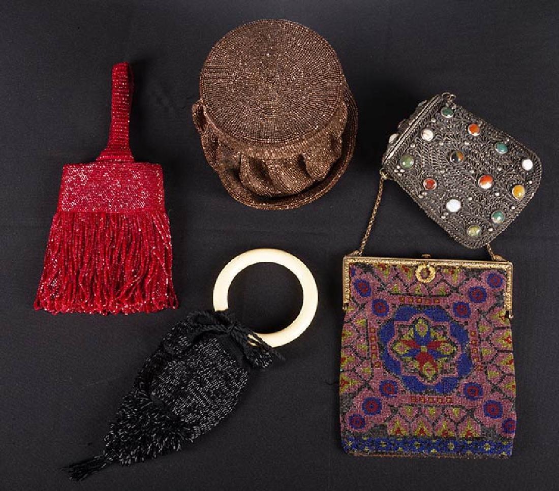 5 BEADED BAGS, 1910-1940