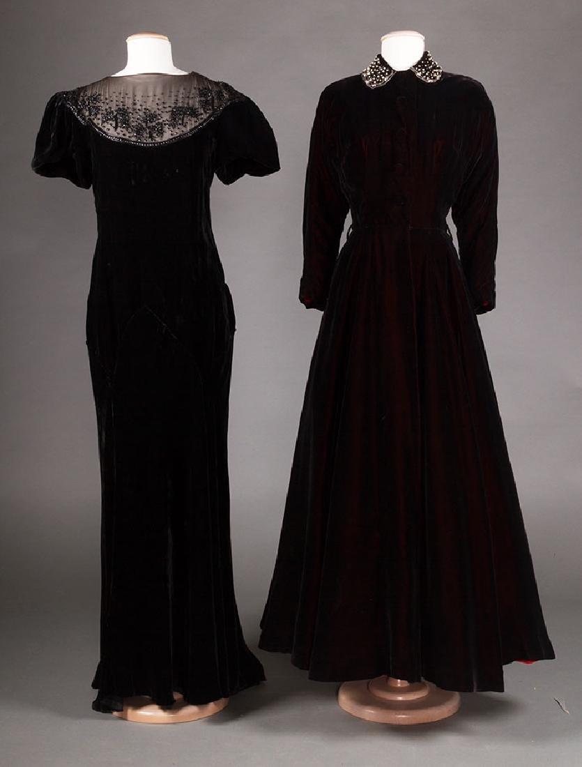 TWO BLACK VELVET EVENING GOWNS, 1930s & 1940s