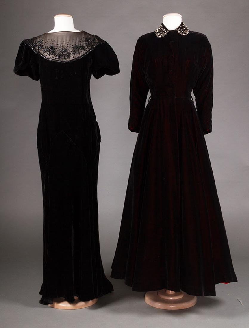 TWO BLACK VELVET EVENING GOWNS, 1930s & 1940s