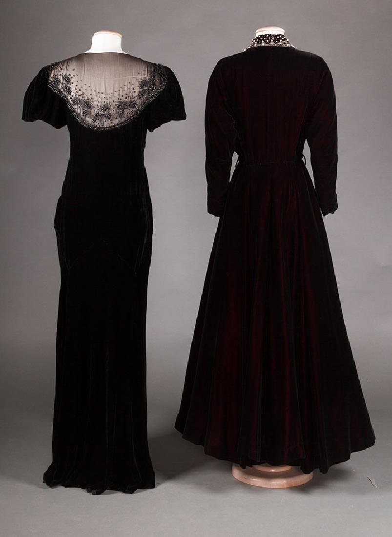 TWO BLACK VELVET EVENING GOWNS, 1930s & 1940s - 2