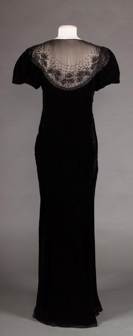 TWO BLACK VELVET EVENING GOWNS, 1930s & 1940s - 4