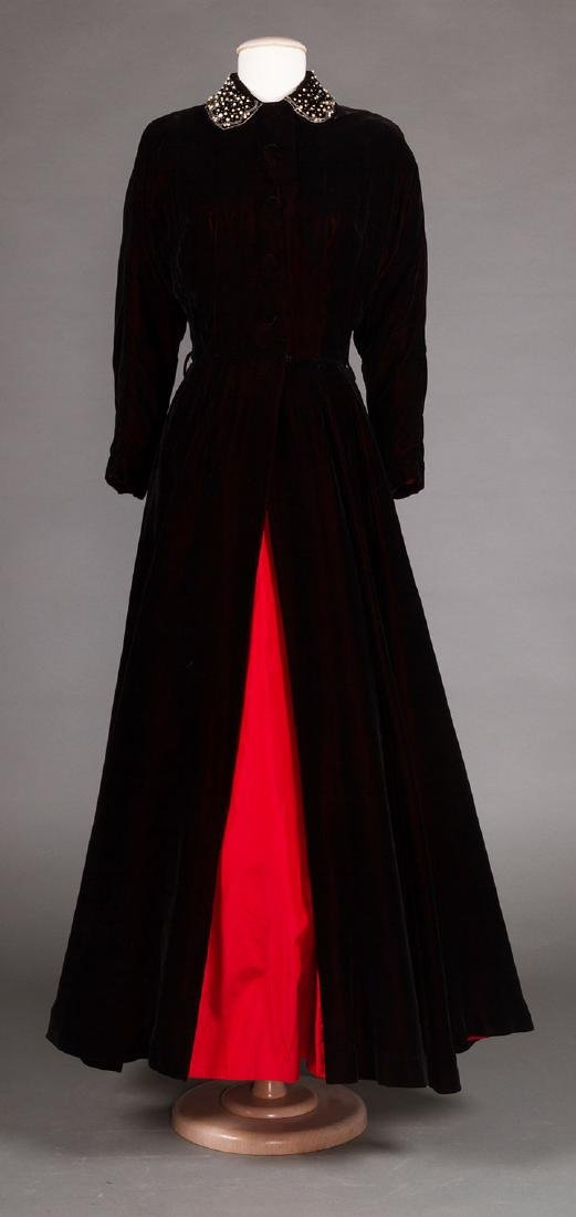 TWO BLACK VELVET EVENING GOWNS, 1930s & 1940s - 5